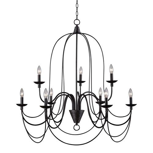 Bronze 9 lights chandelier