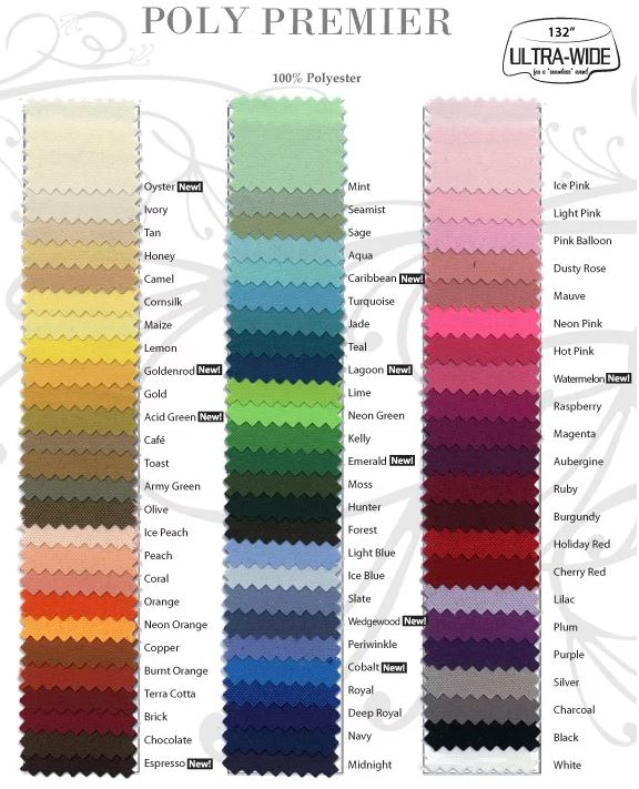 available colors for linen rental